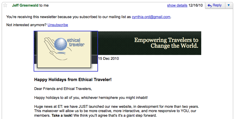 The Ethical Traveler newsletter