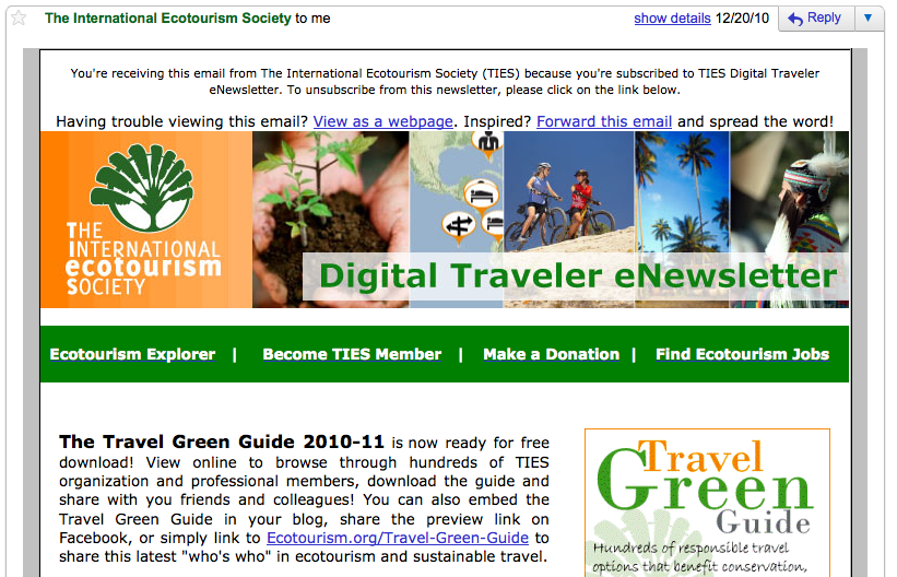 TIES Digital Traveler newsletter