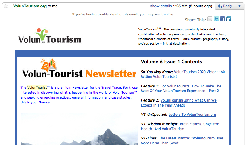 VolunTourist newsletter