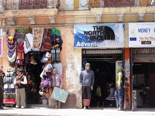 "The ""North Face"" storefront in La Paz, Bolivia"