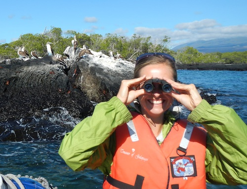 Geeking out with my binoculars in the Galapagos