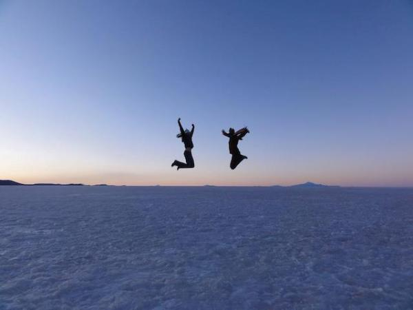 Great Salt Flats of Bolivia at sunset