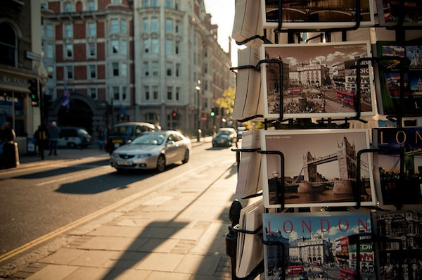 postcard stand in London. Photo by flickr/wenzday01