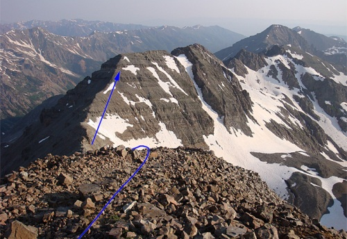 Castle Peak summit, view of Conundrum Peak