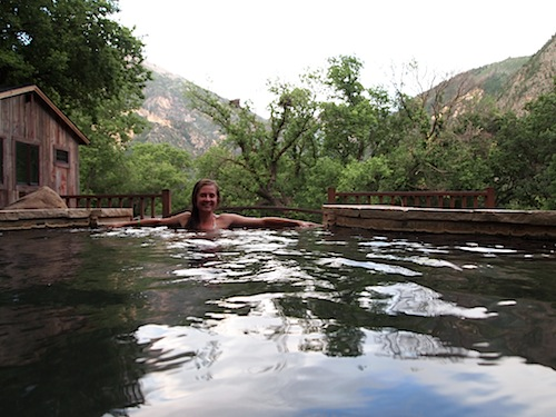 A summer evening at the Avalanche Ranch hot springs